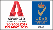Advanced Certification ISO 9001:2015 14001:2015 - UKAS 8872